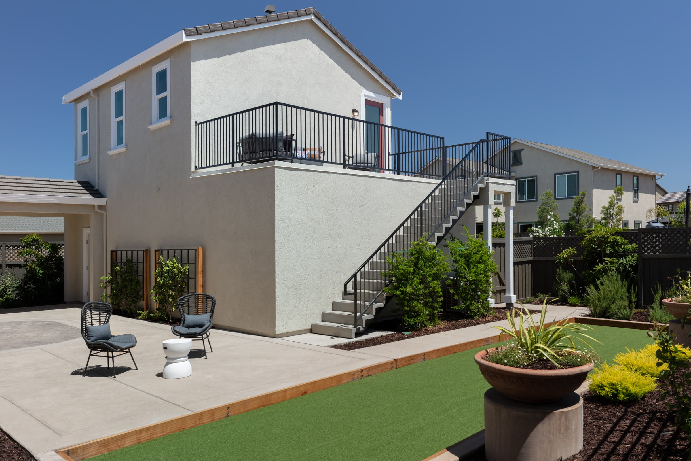 Backyard of Stanford Plan 3 at Ellis in Tracy, CA