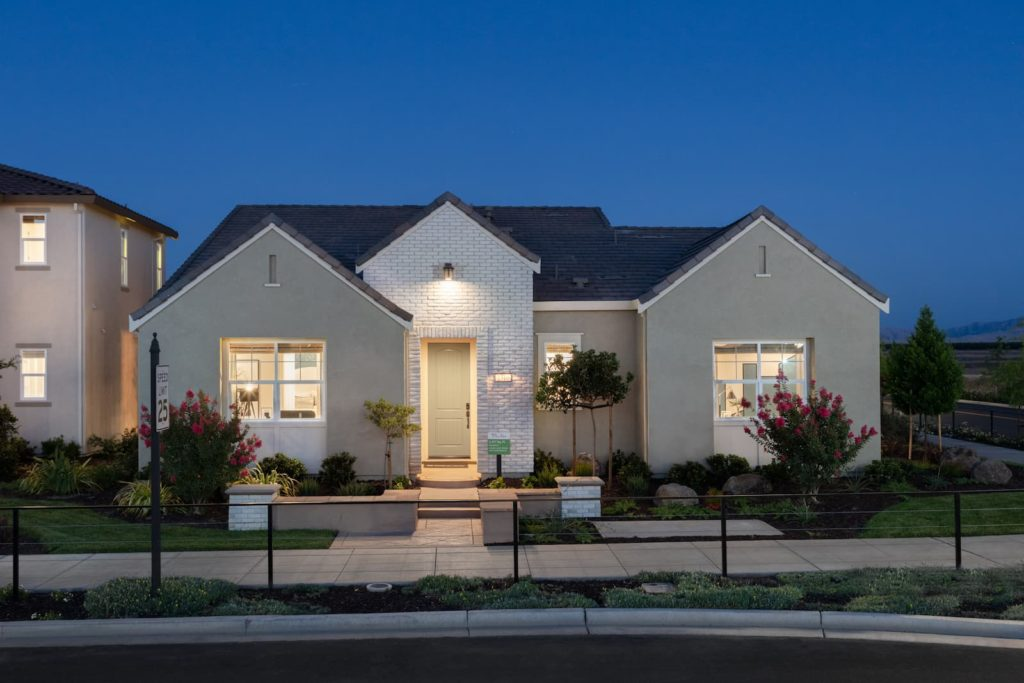 exterior at dusk of Stanford Plan 1 at Ellis in Tracy, CA