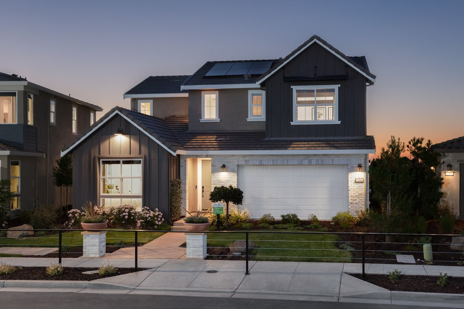exterior at dusk of Zephyr Plan 3 at Ellis in Tracy, CA