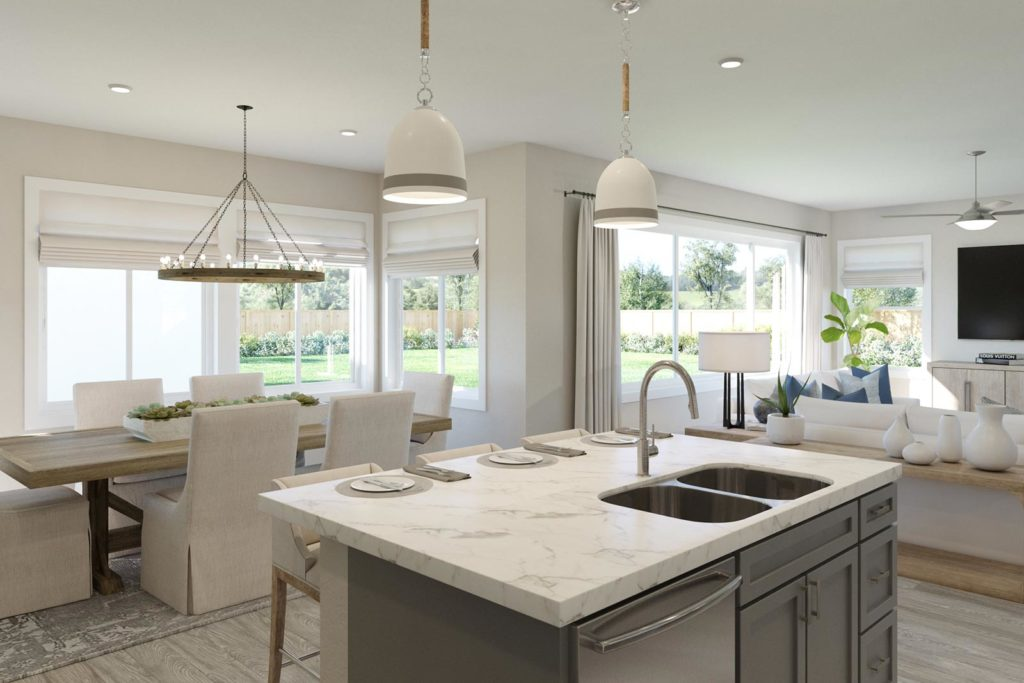 Kitchen to Dining Room and Great Room in Plan 2 - Townsend at Ellis in Tracy, CA