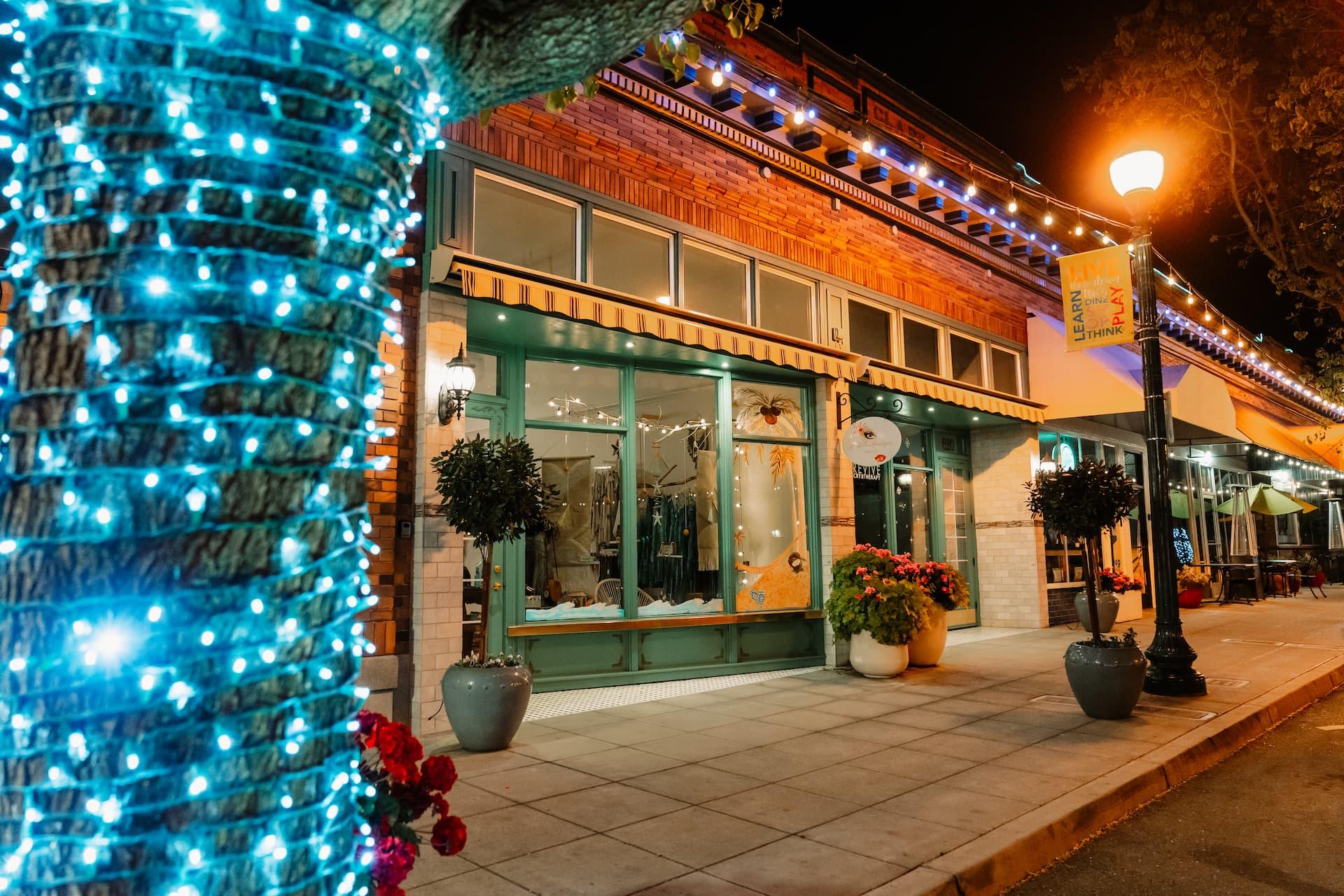 downtown ellis storefronts at night